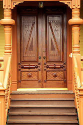 Stock photo of custom door woodwork on house in Heights neighborhood, Houston, Texas