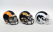 A view of Los Angeles Rams helmets on Thursday, November 2, 2017. From left: blue and yellow helmet (1973-99), blue and gold (2000-2016) and blue and white (1964-72, 2017-) (Kirby Lee via AP)