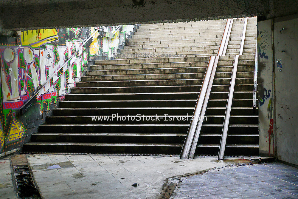 Underground pedestrian passage with bicycle ramp, Plovdiv, Bulgaria