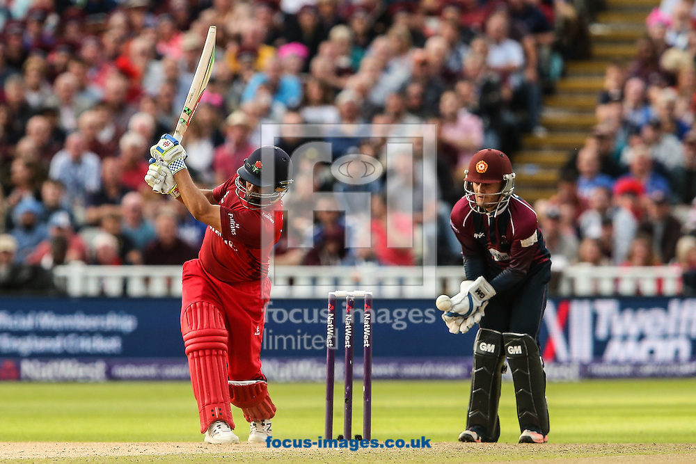 Ashwell Prince of Lancashire Lightning (left)  plays and misses as Ben Duckett of Northants Steelbacks (right) looks on during the Natwest T20 Blast Final at Edgbaston, Birmingham<br /> Picture by Andy Kearns/Focus Images Ltd 0781 864 4264<br /> 29/08/2015