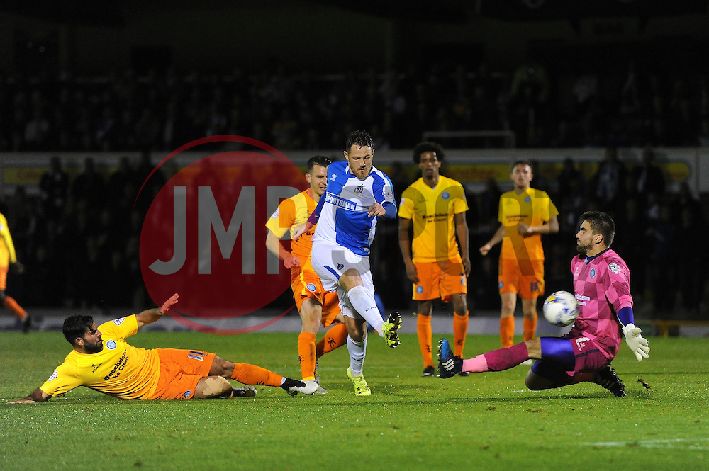 Tom Parkes of Bristol Rovers takes a shot at goal - Mandatory byline: Dougie Allward/JMP - 07966 386802 - 06/10/2015 - FOOTBALL - Memorial Stadium - Bristol, England - Bristol Rovers v Wycombe Wanderers - JPT Trophy
