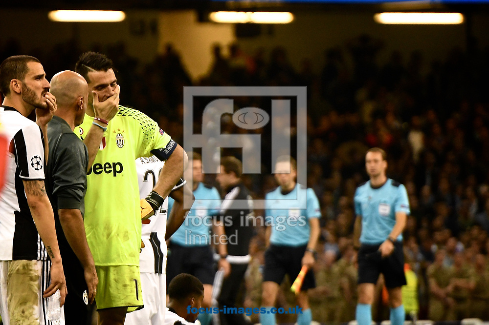 Juventus goalkeeper Gianluigi Buffon reacts to defeat following the UEFA Champions League Final at the Principality Stadium, Cardiff<br /> Picture by Kristian Kane/Focus Images Ltd +44 7814 482222<br /> 03/06/2017