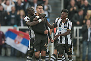Aleksandar Mitrović (Newcastle United) celebrates scoring for Newcastle. 4-0 during the EFL Cup 4th round match between Newcastle United and Preston North End at St. James's Park, Newcastle, England on 25 October 2016. Photo by Mark P Doherty.