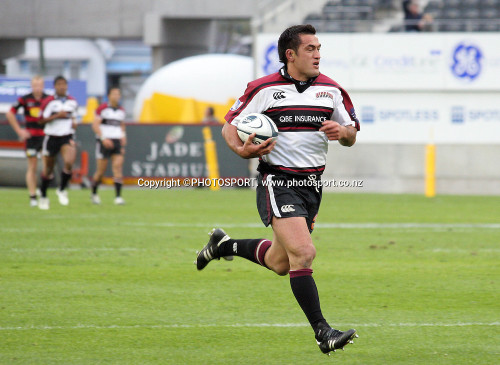 Harbour captain Rua Tipoki scores a runaway try during the Air NZ Cup week 9 rugby match between Canterbury and North Harbour at Jade Stadium, Christchurch, New Zealand on Sunday 24 September, 2006. North Harbour won the match 21 - 17. Photo: Hagen Hopkins/PHOTOSPORT<br />