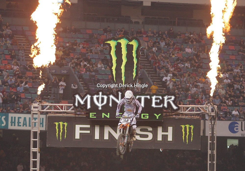14 March 2009: Justin Brayton (114) crosses the finish line during the Main Event of the Monster Energy AMA Supercross race at the Louisiana Superdome in New Orleans, Louisiana