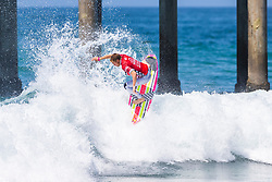 Kolohe Andino (USA) advances to Round 4 of the VANS US Open of Surfing after winning Heat 3 of Round 3 at Huntington Beach, CA, USA.