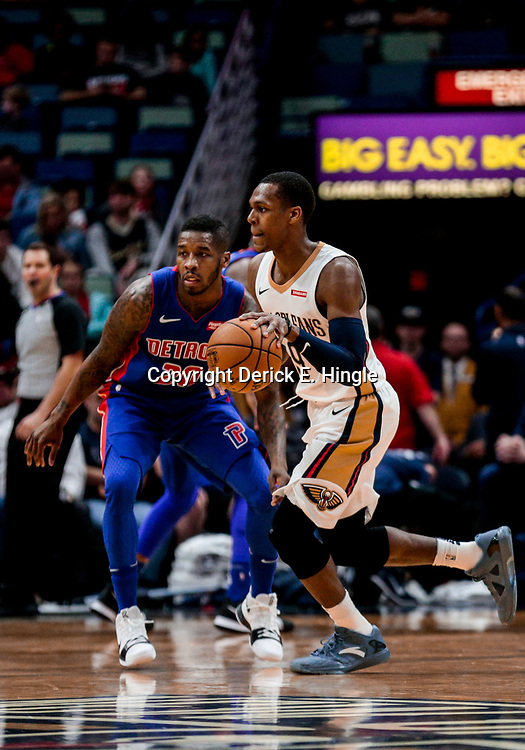 Jan 8, 2018; New Orleans, LA, USA; New Orleans Pelicans guard Rajon Rondo (9) drives past Detroit Pistons guard Dwight Buycks (20) during the first quarter at the Smoothie King Center. Mandatory Credit: Derick E. Hingle-USA TODAY Sports