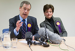 UKIP leader Nigel Farage and UKIP candidate Diane James hold a press conference after coming second in the Eastleigh by-election, Eastleigh, UK, March 01, 2013. Photo by: i-Images.