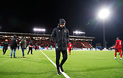 OSTERSUND, SWEDEN - MARCH 17: Graham Potter, head coach of Ostersunds FK leaves the pitch after the Swedish Cup Semifinal between Ostersunds FK and Malmo FF at Jamtkraft Arena on March 17, 2018 in Ostersund, Sweden. Photo: Nils Petter Nilsson/Ombrello ***BETALBILD***