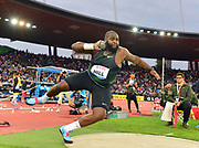 Darrell Hill (USA) places second in the shot put at 73-6 (22.40m) during the Weltklasse Zurich in an IAAF Diamond League meeting at Letzigrund Stadium in Zurich, Switzerland on Thursday, August 30, 2018.(Jiro Mochizuki/Image of Sport)
