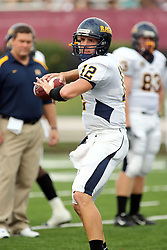 08 September 2007: Freshman quarterback Chris Franklin warms up for the Racers. The Murray State Racers were defeated by the Illinois State Redbirds 43-17 in a nightcap at Hancock Stadium on the campus of Illinois State University in Normal Illinois.