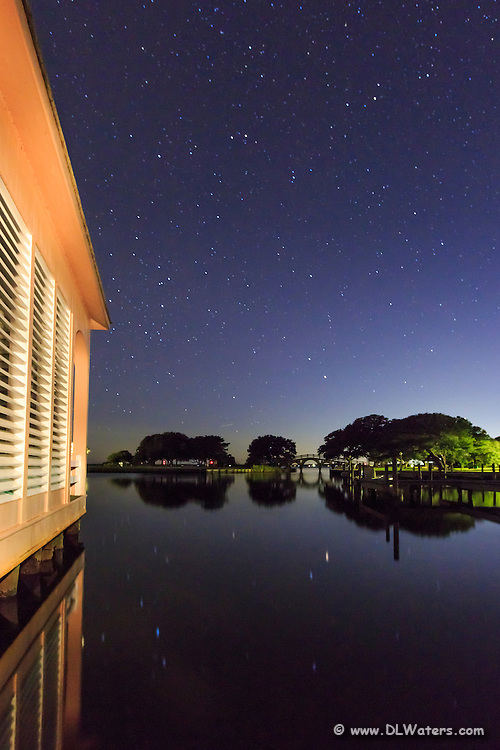 Outer Banks pitcher of a boathouse and stars in Corolla North Carolina. T