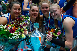 Sliedrecht Sport celebrate with Christie Wolt #1 of Sliedrecht Sport, Ana Rekar #11 of Sliedrecht Sport, Fleur Savelkoel #6 of Sliedrecht Sport , Emma Rekar #5 of Sliedrecht Sport. Sliedrecht win 3-0 in the cup final between Sliedrecht Sport and Laudame Financials VCN on February 16, 2020 in De Maaspoort in Den Bosch.