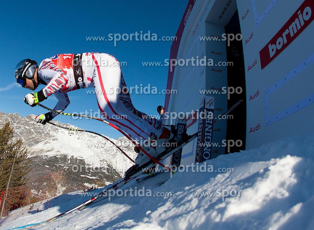 27.12.2011, Pista Stelvio, Bormio, ITA, FIS Weltcup Ski Alpin, Herren, Abfahrt, 1. Training, im Bild am Start Mario Scheiber (AUT) // Mario Scheiber of Austria at the start during first practice session downhill of FIS Ski Alpine World Cup at 'Pista Stelvio' in Bormio, Italy on 2011/12/27. EXPA Pictures © 2011, PhotoCredit: EXPA/ Johann Groder