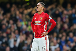 Chris Smalling of Manchester United looks dejected after Chelsea go 3-0 up - Rogan Thomson/JMP - 23/10/2016 - FOOTBALL - Stamford Bridge Stadium - London, England - Chelsea v Manchester United - Premier League.