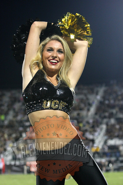 ORLANDO, FL - OCTOBER 09:  A UCF dancer cheers to the crowd at Bright House Networks Stadium on October 9, 2014 in Orlando, Florida. (Photo by Alex Menendez/Getty Images) *** Local Caption *** UCF dancer