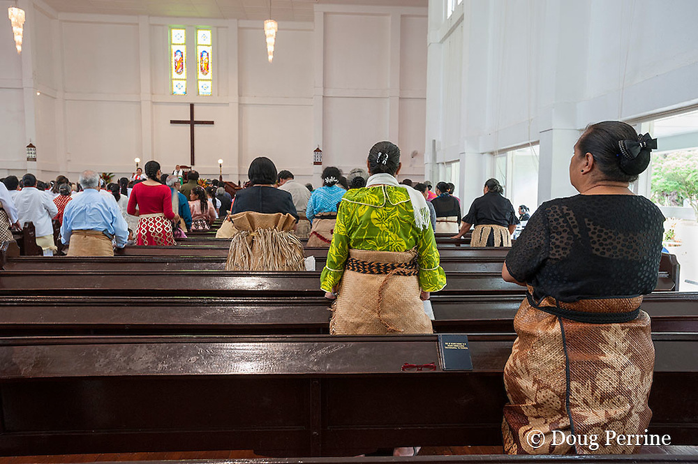 attendees dressed in Sunday best, including ta'ovala ( pandanus mat ), and Kiekie ( pandanus belt ) at Sunday service at King's Church, Nuku'alofa, Kingdom of Tonga, South Pacific