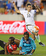 Feb 19, 2016; Houston, TX, USA; USA midfielder Carli Lloyd (10) makes a move as Trinidad & Tobago midfielder Karyn Forbes (14)  and goalkeeper Kimika Forbes (1)  collide in the first half during the semifinals of the 2016 CONCACAF women's Olympic soccer tournament at BBVA Compass Stadium.  Mandatory Credit: Thomas B. Shea-USA TODAY Sports