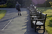 A guy rollerblading in Roath Park, Cardiff, September 2002. Photo © Rob Watkins