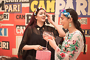 SAFREEN KHAN;  ANA DE JESUS,  , Private view for the Art of Campari, The Estorick Collection,  Islington. London. 3 July 2018