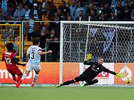 FODBOLD: Ernest Asante (FC Nordsjælland) scorer til 1-0 under kampen i ALKA Superligaen mellem FC Nordsjælland og FC Helsingør den 21. august 2017 i Right to Dream Park, i Farum. Foto: Claus Birch