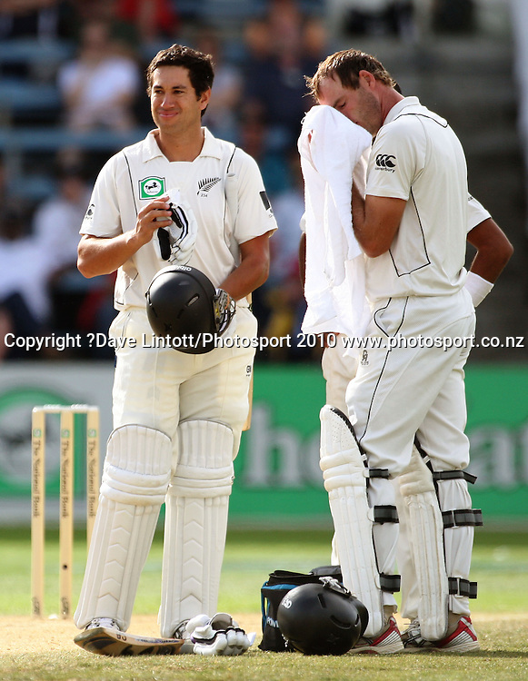 NZ's Ross Taylor waits for a review of an lbw decision, beside Tim McIntosh before being given out.<br /> 1st cricket test match - New Zealand Black Caps v Australia, day three at the Basin Reserve, Wellington.Sunday, 21 March 2010. Photo: Dave Lintott/PHOTOSPORT