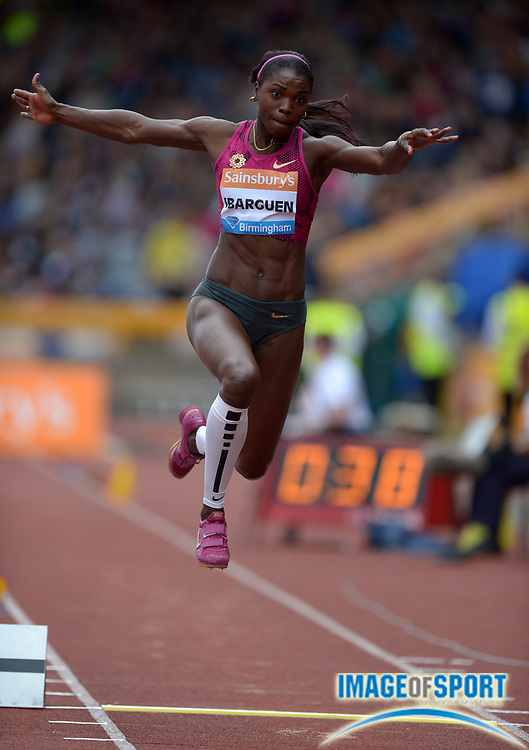 Aug 24, 2014; Birmingham, UNITED KINGDOM; Catarine Ibarguen (COL) wins the womens triple jump at 47-7 3/4 (14.52m) in the 2014 Sainsbury's Birmingham Grand Prix at Alexander Stadium.