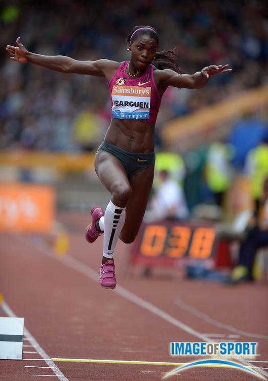 Aug 24, 2014; Birmingham, UNITED KINGDOM; Catarine Ibarguen (COL) wins the womens triple jump at 47-7 3/4 (14.52m) in the 2014 Sainsbury's Birmingham Grand Prix at Alexander Stadium.