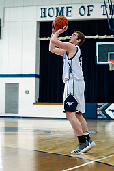 9 February 2019: Boys Basketball game between the HartEm (Hartsburg Emden) Stags and the Ridgeview Mustangs in Ridgeview High School, Colfax IL
