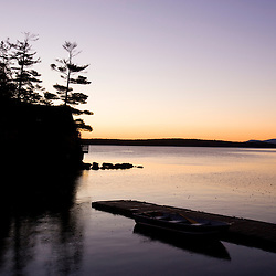 Dawn on Lake Winnipesauke in Meredith, New Hampshire.