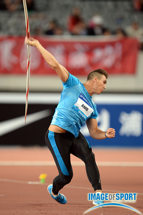 May 18, 2014; Shanghai, CHINA; Kim Amb (SWE) places second in the javelin at 274-0 (84.14m) in the 2014 Shanghai Golden Grand Prix at Shanghai Stadium. Photo by Jiro Mochizuki
