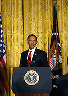 President Barack Obama announces the formation of the Economic Recovery Advisory Board on February 6, 2009.  The announcement and Presidential act signing was held in the East Room of the White House.  Photograph by Dennis Brack