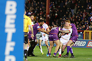 A Rover attack is thwarted during the Betfred Super League match between Hull Kingston Rovers and Huddersfield Giants at the Hull College Craven Park  Stadium, Hull, United Kingdom on 21 February 2020.