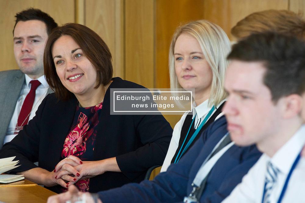 Pictured: <br /> Scottish Labour leader Kezia Dugdale, MSP,  visited Standard Life today in Edinburgh to meet staff at the start of Apprenticeship Week.<br /> <br /> Ger Harley   EEm 6 March 2017