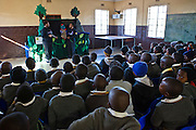 Children from Matsie Steyn primary school, Sharpeville, watching the 'No Monkey Business' show, the theatre group will perform 3 shows to various ages of children during a morning at the school.