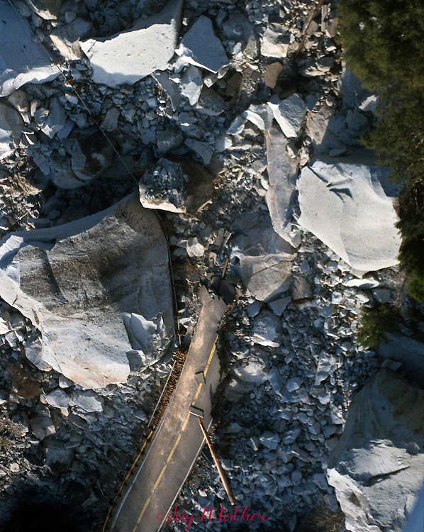 Rain and flooding in Yosemite National Park brought on a massive rock slide on Highway 140 near the Arch Rock entrance to the park.