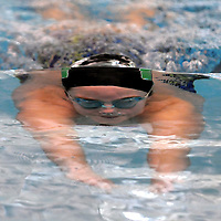 West Brunswick High School athlete Meg Fletcher swims during practice Tuesday, Jan. 14, 2014 at Brunswick Community College in Supply, N.C. The Trojans swim team started from scratch with help from senior Meg Fletcher and her mother head coach Lyn Fletcher. Photo By Mike Spencer/StarNews Media