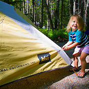 Tiny Camper, Apgar Campground, Glacier National Park, Montana.