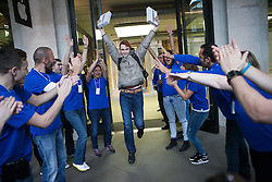 The new iPad Air on sale in London. <br /> George Soloviev (second person on the line) who has been waiting since 4pm yesterday gets cheered by Apple employees at Covent Garden's Apple store, London, United Kingdom. Friday, 1st November 2013. Picture by Daniel Leal-Olivas / i-Images