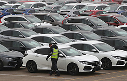 File photo dated 12/01/18 of Honda cars lined up at Southampton Docks prior to being loaded onto a car container ship for export. Honda is planning to close its plant in Swindon in three years time, according to unconfirmed reports.