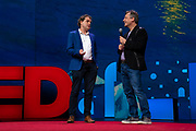 Host Chris Anderson and Peter Beck speak at TED2019: Bigger Than Us. April 15 - 19, 2019, Vancouver, BC, Canada. Photo: Bret Hartman / TED