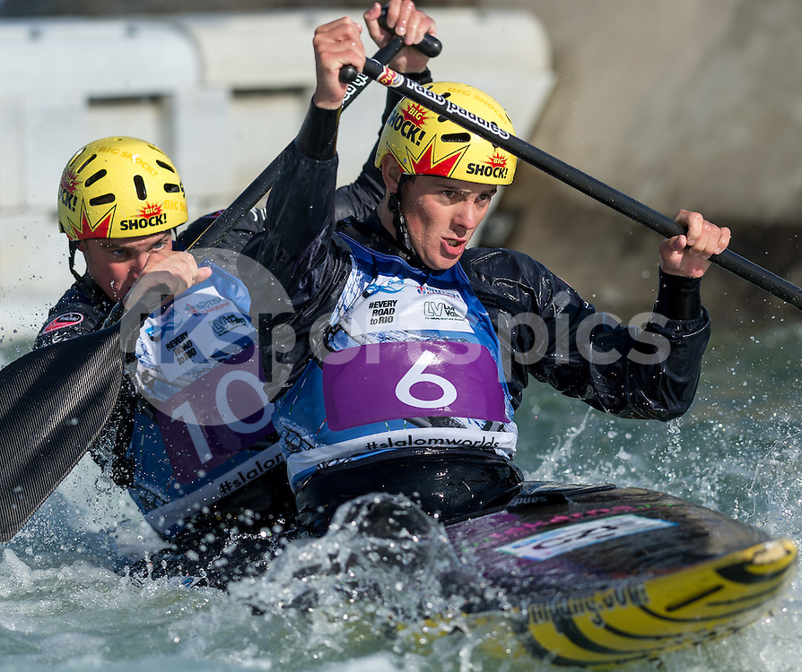 Jakub Jane and Ondrej Karlovsky of Czech Republic compete in the C2 during the ICF Canoe Slalom World Championship 2015 at Lee Valley White Water Centre, London, United Kingdom on 19 September 2015. Photo by Vince  Mignott.