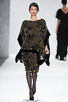 Ming Xi walks down runway for F2012 Tadashi Shoji's collection in Mercedes Benz fashion week in New York on Feb 9, 2012 NYC