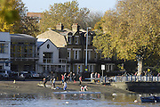 London, GREAT BRITAIN,  GV's from Bishops Park looking across the River Thames to Putney Hard, and the Boat Houses, Sat morning  of the 2006 Fours Head of the River Race,  18.11. 2006. Fulham, West London.  [Photo, Peter Spurrier/Intersport-images]. Rowing Course: River Thames, Championship course, Putney to Mortlake 4.25 Miles