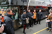 Manchester United Defender Luke Shaw arrives off the club coach during the Premier League match between Bournemouth and Manchester United at the Vitality Stadium, Bournemouth, England on 3 November 2018.