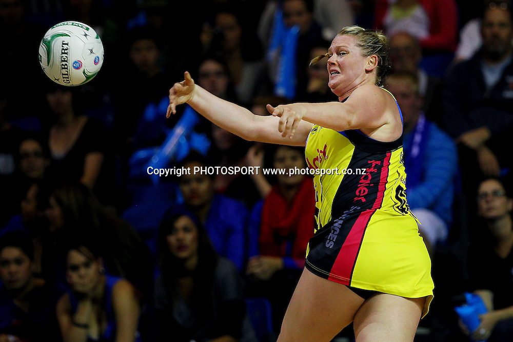 Pulse's Caitlin Thwaites saves the ball in play. ANZ Netball Championship, Northern Mystics v Central Pulse, Trusts Stadium, Auckland, New Zealand. Sunday 21st April 2013. Photo: Anthony Au-Yeung / photosport.co.nz