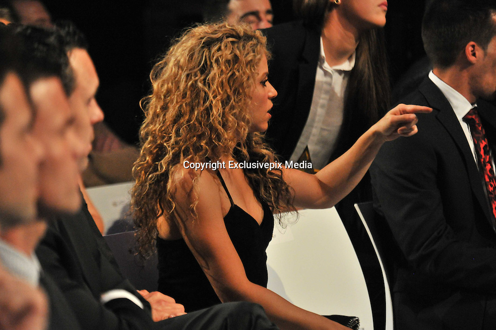 BARCELONA, SPAIN, 2015, NOVEMBER 09 <br /> <br /> Shakira and Milan and Gerard Pique collect the award for best Catalan player. Shakira looked stunning in black dress showing off her toned figure<br /> &copy;Exclusivepix Media