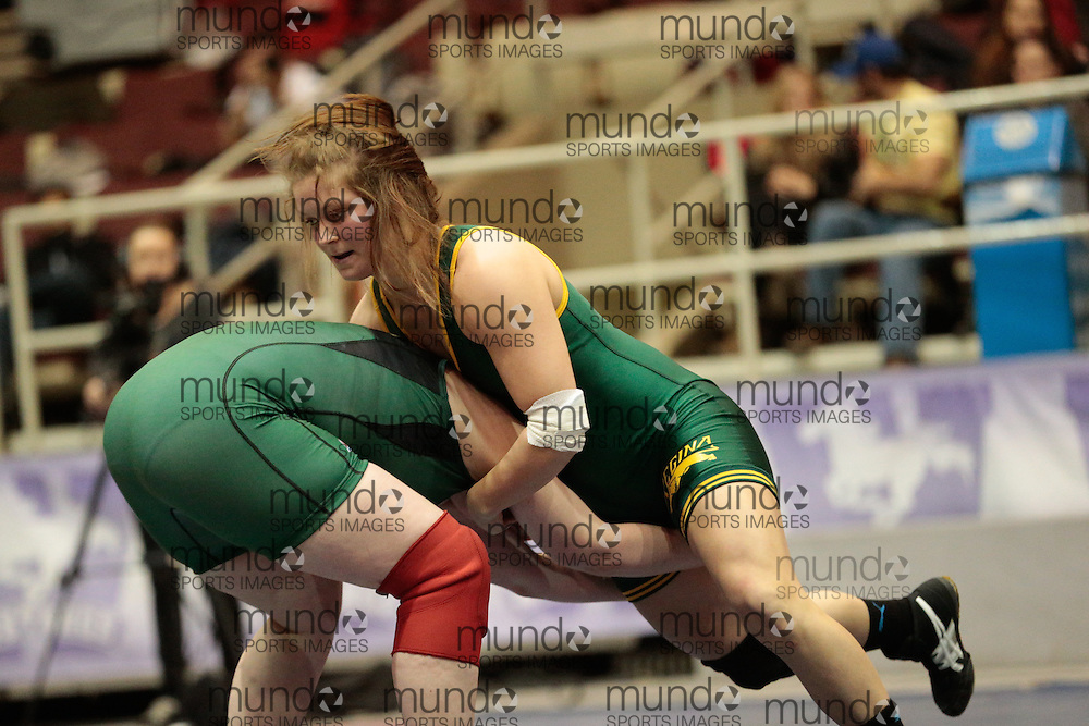 London, Ontario ---2013-03-02---   Madison Beblow of The University Of Alberta takes on Jillian Durant of U Of Regina in the women's 82 KG bronze medal match at the 2012 CIS Wrestling Championships in London, Ontario, March 02, 2013. .GEOFF ROBINS/Mundo Sport Images