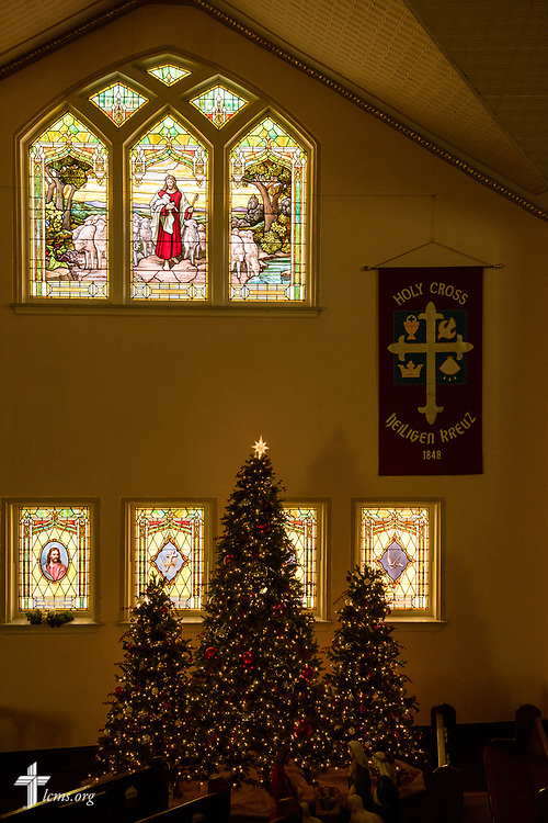 Christmas trees and stained glass at Holy Cross Lutheran Church, Collinsville, Ill., on Monday, Nov. 27, 2017. LCMS Communications/Erik M. Lunsford