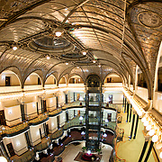 A wide-angle shot of the ornate interior of the Gran Hotel De La Ciudad De Mexico in Centro Historico.